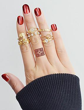 billige Fashion Rings-Dame Ring Set Midiringe Stable Ringer 7pcs Gull Legering Sirkelformet damer Grunnleggende Mote Daglig Stevnemøte Smykker Blad Formet Hjerte Blomst