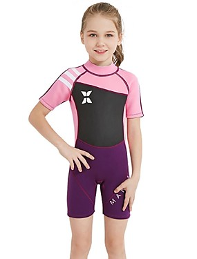 cheap Sports & Outdoors-Girls' Shorty Wetsuit 2.5mm Spandex SCR Neoprene Diving Suit Sun Shirt UV Resistant Stretchy UPF50+ Short Sleeve Back Zip Patchwork Autumn / Fall Spring Summer / Winter