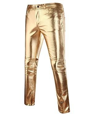 preiswerte Herren Hosen und Shorts-Herrn Street Schick / Punk & Gothic / Übertrieben Klub Schlank Chinos Hose - Solide Frühling Herbst Gold Schwarz Silber XL XXL XXXL