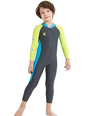 cheap Sports & Outdoors-Boys' Rash Guard Dive Skin Suit Spandex Diving Suit SPF30 UV Sun Protection Quick Dry Full Body Front Zip - Swimming Diving Surfing Patchwork Autumn / Fall Spring Summer / Stretchy / UPF50+