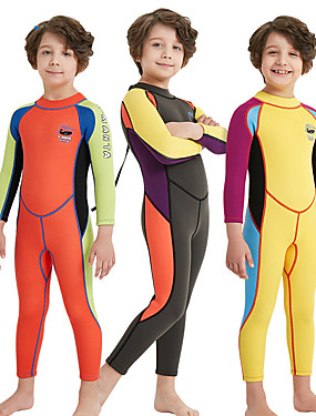 cheap Sports & Outdoors-Boys' Full Wetsuit 2mm SCR Neoprene Diving Suit High Elasticity Stretchy UPF50+ Long Sleeve Back Zip Patchwork / Kid's