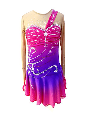 cheap Sports & Outdoors-SKMEI Figure Skating Dress Girls' Ice Skating Dress Fuchsia Halo Dyeing Spandex Stretchy Professional Competition Skating Wear Sequin Long Sleeve Figure Skating / Kid's