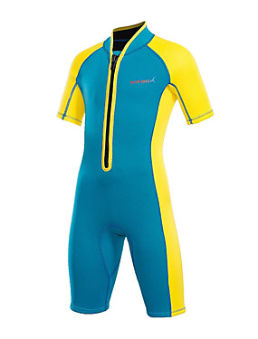 cheap Sports & Outdoors-Bluedive Girls' Shorty Wetsuit 2mm Neoprene Diving Suit Thermal / Warm UV Sun Protection Quick Dry Short Sleeve Front Zip - Swimming Diving Surfing Patchwork Floral Botanical / Stretchy