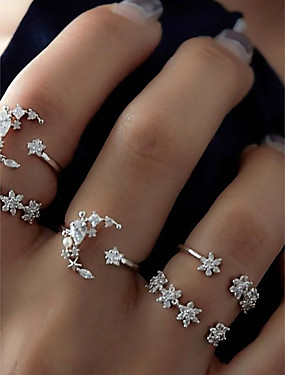 cheap Fashion Rings-Women's Ring Set Midi Rings Stackable Rings 5pcs Silver Alloy Circle Ladies Unusual Unique Design Daily Date Jewelry Cluster Moon Star