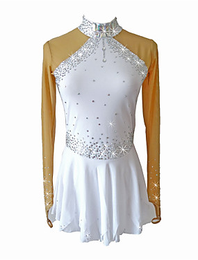 cheap Sports & Outdoors-SKMEI Figure Skating Dress Girls' Ice Skating Dress White Spandex Competition Skating Wear Sequin Sleeveless Figure Skating