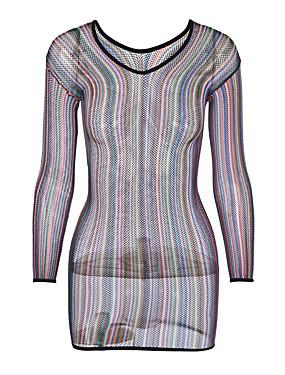 cheap UNDER $9.99-Women's Plus Size Sexy Babydoll & Slips Nightwear - Mesh Rainbow Rainbow One-Size / Strap