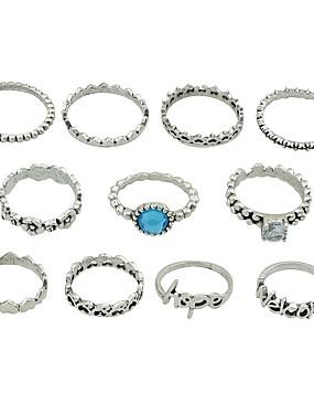billige Fashion Rings-Dame Ring Set Midiringe Stable Ringer 11 deler Sølv Imitasjonsturmalin Legering Sirkelformet damer Grunnleggende Mote Daglig Stevnemøte Smykker Hjerte Blomst Bokstaver