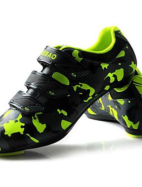 cheap Sports & Outdoors-Tiebao® Road Bike Shoes Carbon Fiber Anti-Slip Cycling Green / Black Men's Cycling Shoes / Hook and Loop