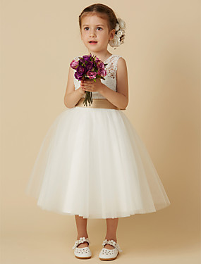 cheap The Wedding Store-Princess Knee Length Wedding / First Communion Flower Girl Dresses - Lace / Tulle Sleeveless Jewel Neck with Sash / Ribbon / Bow(s)