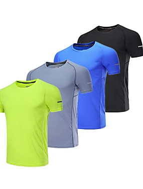 cheap Sports & Outdoors-BARBOK Men's Short Sleeve Lightweight Quick Dry Breathability Gym Workout Fitness Exercise Sportswear Plus Size Tee T-shirt Black Grey Green Blue Activewear Stretchy