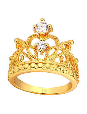 billige Fashion Rings-Dame Knokering Diamant Kubisk Zirkonium Gull Sølv Kobber damer Mote Daglig Smykker Krone