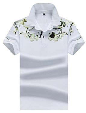 voordelige Weekly Deals-Heren Street chic Polo Bloemen Overhemdkraag Wit / Korte mouw