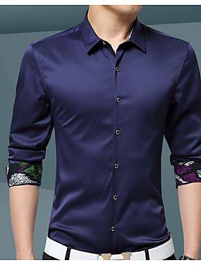 voordelige Weekly Deals-Heren Standaard Overhemd Effen Paars / Lange mouw