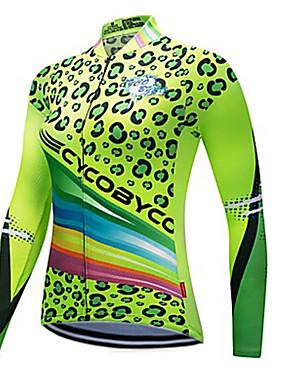 cheap Sports & Outdoors-CYCOBYCO Women's Long Sleeve Cycling Jersey Winter Fleece Polyester Green Leopard Plus Size Bike Sweatshirt Jersey Top Mountain Bike MTB Road Bike Cycling Quick Dry Reflective Strips Sports Clothing