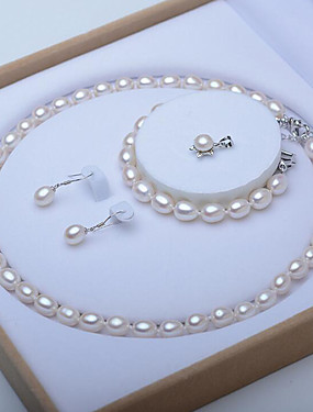 cheap Women's Clothing-Women's White Freshwater Pearl Bridal Jewelry Sets Beaded Single Strand Ladies Elegant Vintage For Mother / Mom Silver Earrings Jewelry White For Wedding Party Gift