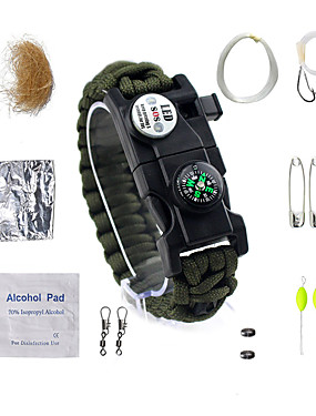cheap Sports & Outdoors-Paracord Bracelet Survival Bracelet Fire Starter Tactical Waterproof LED Nylon Fiber Camping / Hiking Fishing Camping / Hiking / Caving Traveling Travel 14 pcs Camouflage