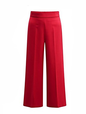 cheap Clearance-Women's Street chic Plus Size Daily Weekend Loose Wide Leg Pants - Solid Colored Red Blue Black L XL XXL
