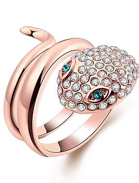 billige Fashion Rings-Dame Band Ring vikle ring Kubisk Zirkonium 1pc Rose Gull Gullbelagt Geometrisk Form damer Mote Gave Daglig Smykker Slange Kul