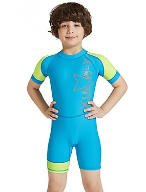 cheap Sports & Outdoors-Boys' Rash Guard Dive Skin Suit Spandex Diving Suit Sun Shirt UV Sun Protection Quick Dry UPF50+ Short Sleeve Back Zip - Swimming Snorkeling Water Sports Patchwork Letter & Number Autumn / Fall