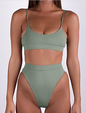 preiswerte Bikinis-Damen Grundlegend Gurt Armeegrün Bandeau Tanga-Bikinihose Bikinis Bademode - Solide Rückenfrei S M L Armeegrün / Sexy