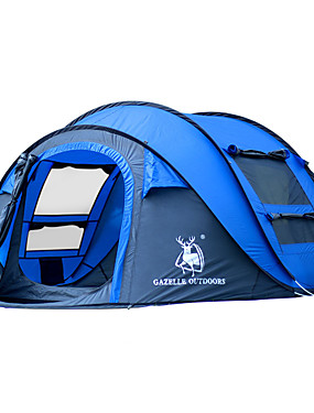 cheap Sports & Outdoors-HUILINGYANG 4 person Pop up tent Outdoor Waterproof Windproof Foldable Single Layered Automatic Dome Camping Tent 2000-3000 mm for Hiking Camping Fiberglass Oxford 290*200*130 cm