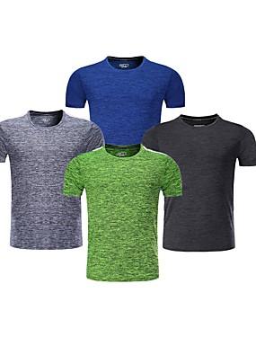 cheap Sports & Outdoors-BARBOK Men's Short Sleeve Elastane Lightweight Quick Dry Breathability Yoga Gym Workout Exercise & Fitness Multisport Sportswear Tee T-shirt Dark Grey Grey Green Blue Activewear