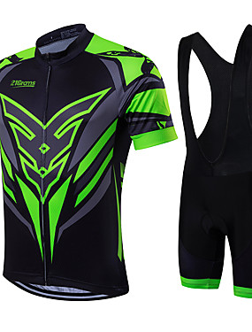 cheap Sports & Outdoors-21Grams Men's Short Sleeve Cycling Jersey with Bib Shorts - Green / Black Bike Clothing Suit, Breathable, Quick Dry, Sweat-wicking Coolmax®, Lycra Classic / High Elasticity
