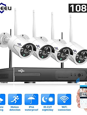preiswerte Hiseeu-hiseeu® 1080p kabelloses cctv-system hdd 2mp 4ch leistungsstarke nvr ir-cut wasserdichte cctv-kamera ip sicherheitssystem überwachungskits fernsicht tag nacht bewegungserkennung