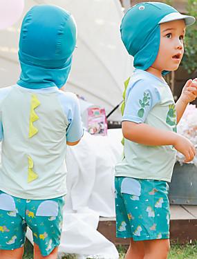 cheap Sports & Outdoors-Boys' Rash Guard Dive Skin Suit Sun Shirt UV Sun Protection Short Sleeve 3-Piece - Swimming Water Sports