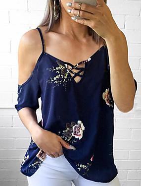 preiswerte Topseller-Damen Solide - Retro Baumwolle Bluse Quaste Puff Ärmel Schwarz & Weiß Blau / Blumen