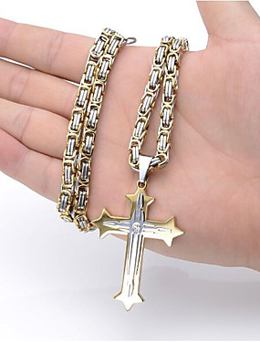 cheap Jewelry Deal-Men's Pendant Necklace Long Necklace Long Byzantine Cross Crucifix Vintage Fashion Cool Hip Hop Stainless Steel Titanium Steel Black Gold Silver Blue 60 cm Necklace Jewelry For Party Gift Street