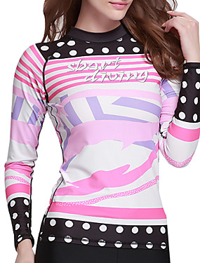 cheap Sports & Outdoors-SBART Women's SPF50 UV Sun Protection Quick Dry Long Sleeve Diving Surfing Beach Dot Stripes Letter & Number Summer / High Elasticity