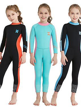 cheap Sports & Outdoors-Dive&Sail Girls' Full Wetsuit 2.5mm SCR Neoprene Diving Suit Thermal / Warm Stretchy Long Sleeve Back Zip - Diving Water Sports Patchwork Autumn / Fall Summer