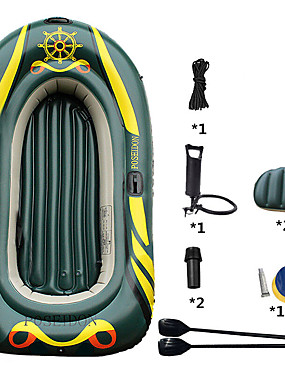 cheap Sports & Outdoors-3-4 Persons Inflatable Boat Set with Hand Air Pump Air Pad French Oars PVC Portable Folding Fishing Boating 215*125*27 cm