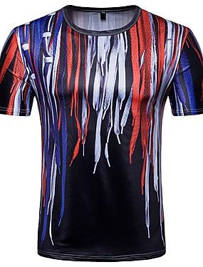 voordelige Weekly Deals-Heren T-shirt Geometrisch Ronde hals Regenboog / Korte mouw / Zomer