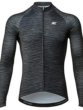 cheap Sports & Outdoors-Mysenlan Men's Long Sleeve Cycling Jersey Winter Fleece Dark Gray Bike Jersey Mountain Bike MTB Road Bike Cycling Sports Clothing Apparel / Micro-elastic / Expert / Expert / Breathable Armpits