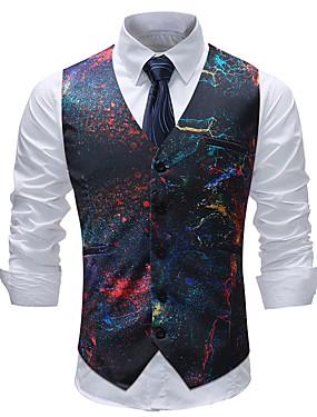 cheap Weddings & Events-Men's Plus Size Vest, Geometric / Color Block / Plaid V Neck Cotton / Acrylic / Polyester Rainbow