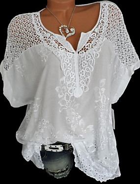 cheap UNDER $9.99-Women's Solid Colored Lace Loose Blouse Causal V Neck White / Black / Blue / Red / Gray