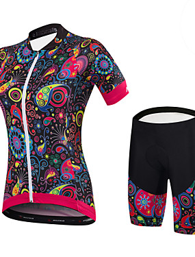 cheap Sports & Outdoors-Malciklo Women's Short Sleeve Cycling Jersey with Shorts Yellow Green Blue Floral Botanical Bike Clothing Suit Sports Spandex Bamboo-carbon Fiber Coolmax® Floral Botanical Mountain Bike MTB Road Bike
