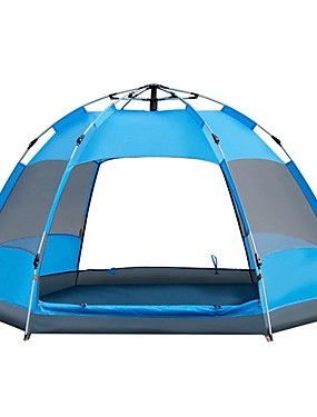 cheap Sports & Outdoors-Sheng yuan 4 person Automatic Tent Outdoor Windproof UV Resistant Rain Waterproof Double Layered Automatic Camping Tent 2000-3000 mm for Camping / Hiking / Caving Traveling Picnic Oxford Cloth Silver