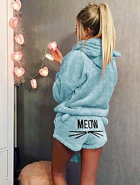 preiswerte Pyjamas-Damen Mit Kapuze / Rollkragen Anzüge Pyjamas Solide / Buchstabe