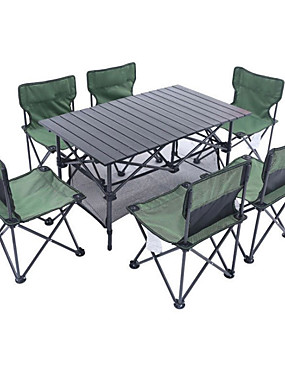 cheap Sports & Outdoors-Shamocamel® Camping Folding Table with Chairs Foldable Folding Oxford Cloth Aluminium alloy 6 Chairs 1 Table for 6 Fishing Beach Camping BBQ Autumn / Fall Spring Black