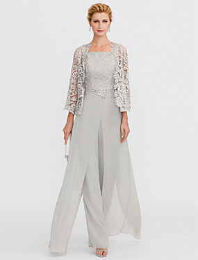 cheap The Wedding Store-Pantsuit / Jumpsuit Mother of the Bride Dress Elegant Plus Size Square Neck Floor Length Chiffon Corded Lace Sleeveless with Lace Appliques 2020