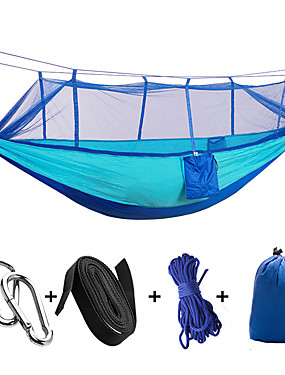 cheap Sports & Outdoors-Camping Hammock with Mosquito Net Double Hammock Outdoor Moistureproof Well-ventilated Ultra Light (UL) Parachute Nylon with Carabiners and Tree Straps for 2 person Camping / Hiking Hunting Outdoor