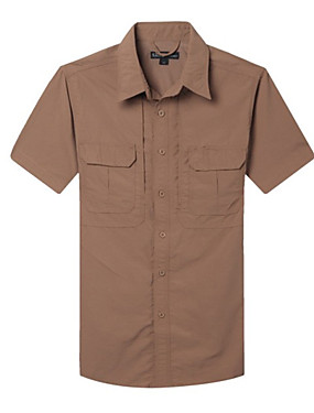 cheap Sports & Outdoors-Men's Hiking Shirt / Button Down Shirts Short Sleeve Outdoor Waterproof Sunscreen UV Resistant Breathable Shirt Top Summer Lycra Ice Silk Camping / Hiking Casual Outdoor Exercise Grey Khaki Green
