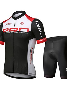 cheap Sports & Outdoors-Mysenlan Men's Short Sleeve Cycling Jersey with Shorts - Red / black Bike Clothing Suit Breathable 3D Pad Quick Dry Sports Polyester Spandex Patchwork Mountain Bike MTB Road Bike Cycling Clothing