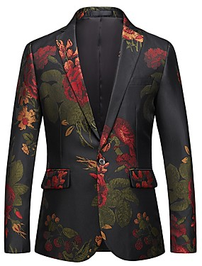 cheap Blazers & Suits-Men's Party / Going out Active / Street chic Spring &  Fall Regular Blazer, Floral V Neck Long Sleeve Polyester Jacquard Black