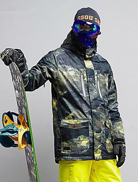 cheap Sports & Outdoors-GSOU SNOW Men's Ski Jacket Ski / Snowboard Winter Sports Ski Skiing Winter Sports POLY Top Ski Wear / Camo / Camouflage