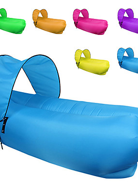 cheap Sports & Outdoors-Fonoun Air Sofa Inflatable Sofa Sleep lounger Air Bed Outdoor Camping Waterproof Portable Fast Inflatable Polyester Taffeta Beach Camping Outdoor for 1 person Spring Summer Fall Red Purple Yellow