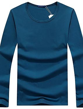 voordelige Weekly Deals-Heren T-shirt Effen Ronde hals Marineblauw / Lange mouw